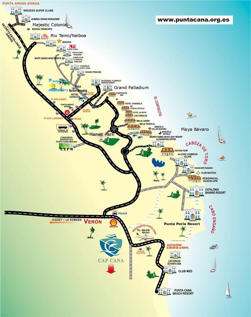mapa de punta cana Mapa turístico de Punta Cana – mapa de hoteles y zonas de P.Cana mapa de punta cana